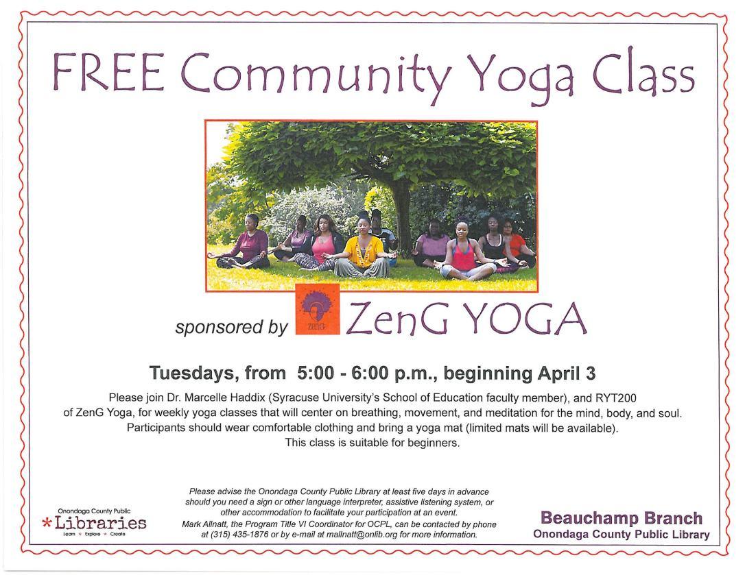 Free Community Yoga Class 2018